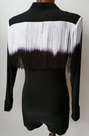 Long shaded fringe mens latin shirt zem dancesportuk for Mens shirt with tassels